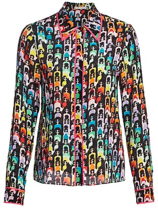 Alice + Olivia Willa Print Silk Blouse