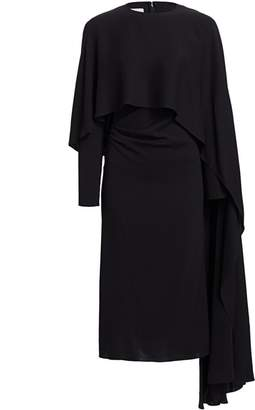 Valentino Fitted Midi Dress with Cape