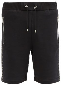 Balmain Logo-print Cotton-jersey Sweat Shorts - Black