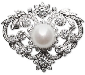 Macy's Cultured Freshwater Pearl (12mm) & Cubic Zirconia Pin in Sterling Silver