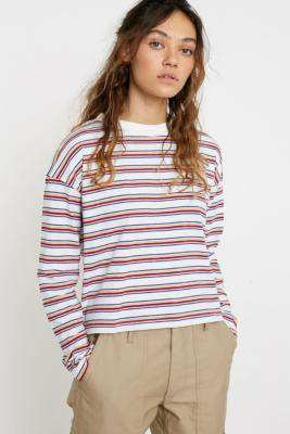 Urban Outfitters Rainbow Stripe Long-Sleeve T-Shirt - white XS at