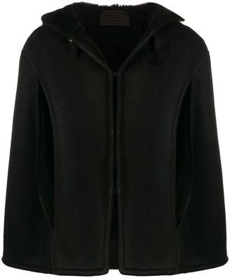 Prada hooded shearling cape