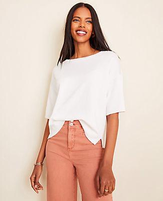 Ann Taylor Petite Linen Blend Short Sleeve Sweater