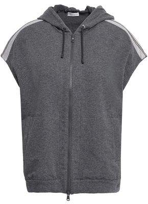 Brunello Cucinelli Bead-embellished Two-tone French Cotton-blend Terry Vest