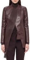 Akris Woven-Panel Leather Long Jacket, Aubergine
