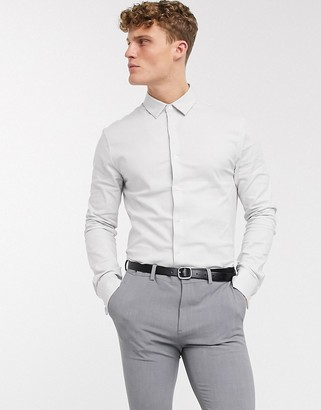 ASOS DESIGN formal skinny fit oxford shirt in grey with double cuff