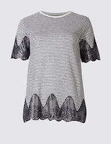 Per Una Cotton Blend Metallic Stripe Lace T-Shirt