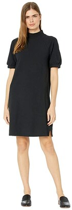Madewell Texture Thread Mock Neck Mini Dress (True Black) Women's Dress