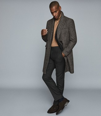 Reiss Livesey - Checked Slim Fit Blazer in Black/brown