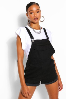 boohoo Denim Roll Up Hem Short Dungaree