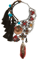 Swarovski VICKISARGE Artisan silver-plated, crystal and feather necklace