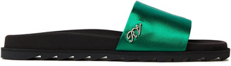 Roger Vivier Slidy Viv Crystal-embellished Silk-satin Slides