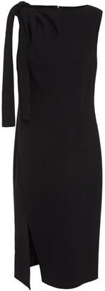 Oscar de la Renta Draped Wool-blend Crepe Dress