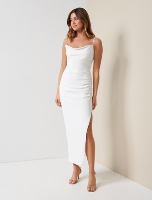 Forever New Linda Crepe Cowl-Neck Column Dress - Porcelain - 10