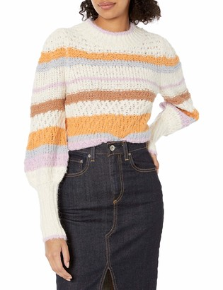 Rebecca Taylor Women's Long Sleeve Fluffy Stripe Pullover Sweater