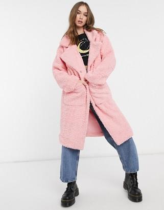 Daisy Street oversized longline coat in teddy fleece