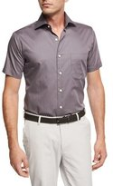 Peter Millar Glass Half Full Short-Sleeve Cotton Sport Shirt, Navy