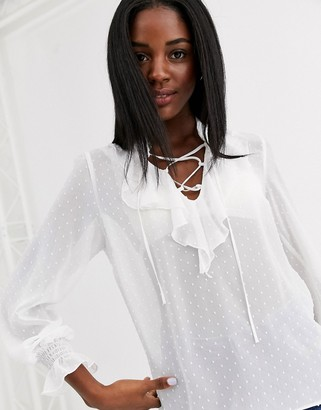 New Look frill blouse in cream