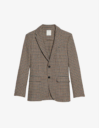 Sandro Houndstooth single-breasted wool jacket