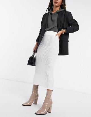 AX Paris knitted midi skirt in cream