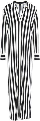 Norma Kamali Striped Stretch-jersey Maxi Shirt Dress