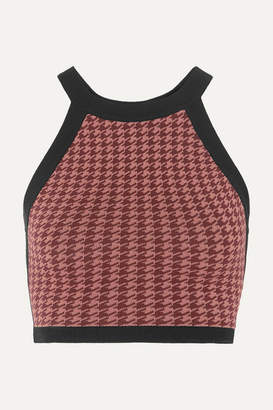 Nagnata - Cropped Houndstooth Open-back Technical Stretch-organic Cotton Top - Burgundy