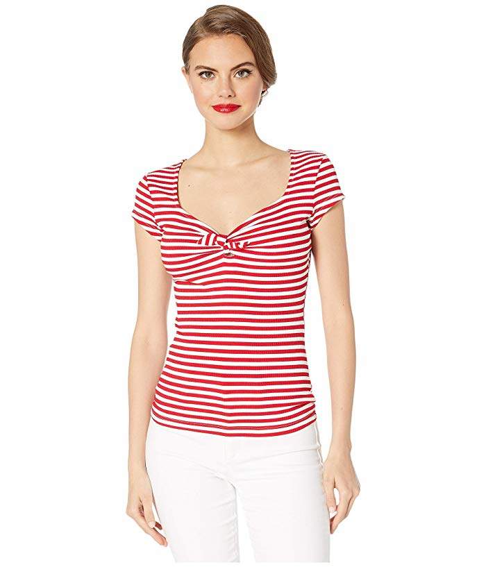 Unique Vintage 1950s Style Stripe Knit Sweetheart Rosemary Top
