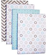 Carter's 4-Pack Cotton Flannel Receiving Blankets, Chevron Taupe Dots by