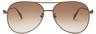 Alexander McQueen Skull Aviator Metal Sunglasses - Brown