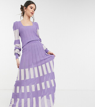 Y.A.S Exclusive knitted midi skirt co-ord in lilac and white colour block