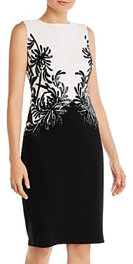Tadashi Shoji Sequinned Color-Blocked Sheath Dress