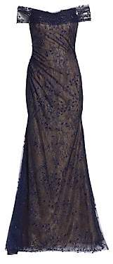 Rene Ruiz Collection Women's Embroidered Off-The-Shoulder Gown