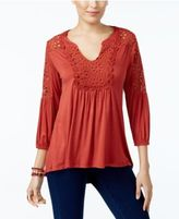 Style&Co. Style & Co Crochet-Trim Bishop-Sleeve Top, Only at Macy's