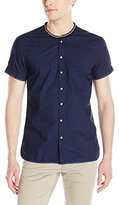 Scotch & Soda Men's Crispy Shortsleeve Shirt with Sporty Rib Collar and Nylon Details