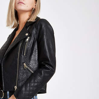 River Island Petite black faux leather biker jacket