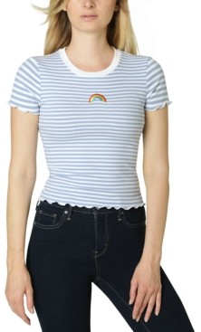 Polly & Esther Juniors' Embroidery-Trim Lettuce-Edge T-Shirt