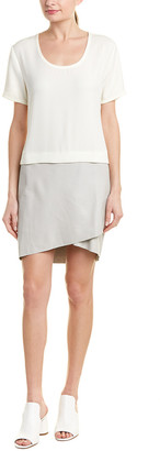 Richard Quinn Colorblocked Leather Shift Dress