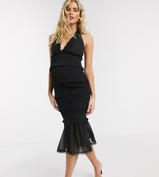 Asos DESIGN Maternity shirred midi dress with v neck and ruffle detail