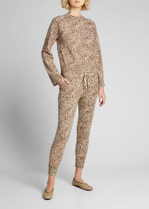 Monrow Mini Leopard-Print Sporty Sweatpants