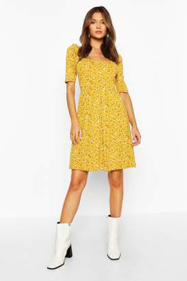 boohoo Ditsy Print Puff Sleeve Jersey Skater Dress