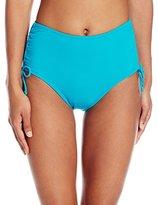 Caribbean Joe Women's Solid Brief Bikini Bottom with Tummy Control