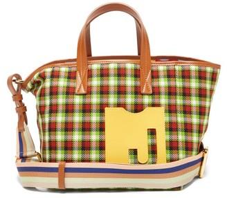 La DoubleJ Mini Mama Leather-trimmed Checked Canvas Tote Bag - Green Multi