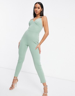 I SAW IT FIRST metal detail double strap skinny leg jumpsuit in green