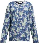 Craig Green Floral-print V-neck Striped-jacquard Sweatshirt - Womens - Blue Multi