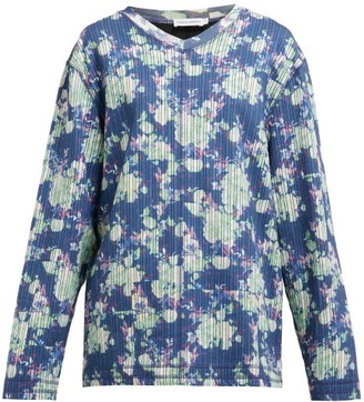 Craig Green Floral-print V-neck Striped-jacquard Sweatshirt - Blue Multi