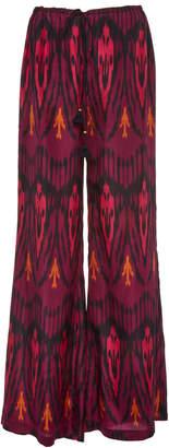 Figue Saanchi Ikat Tassel-Detailed Silk Straight-Leg Pants