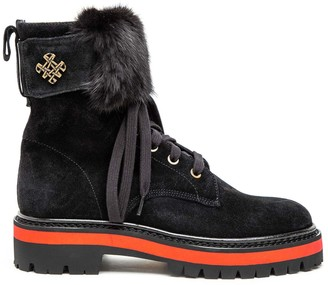 Mr & Mrs Italy Suede Combat Boot With Mink Fur
