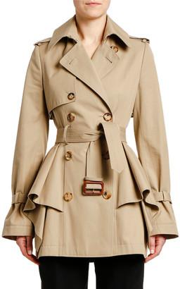 Alexander McQueen Peplum-Waist Gabardine Short Trench Coat