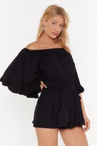 Nasty Gal Womens Pearl Gone Wild Off-the-Shoulder Playsuit - black - S