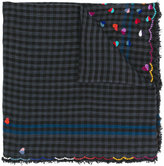 Faliero Sarti check and heart embroidered scarf